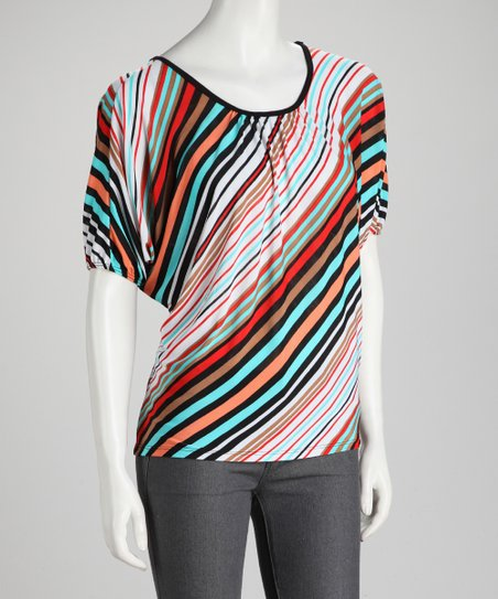 Turquoise Diagonal Stripe Dolman Top