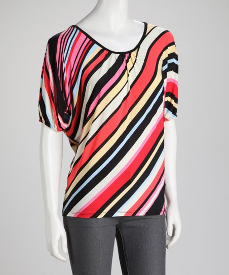 Pink Diagonal Stripe Dolman Top