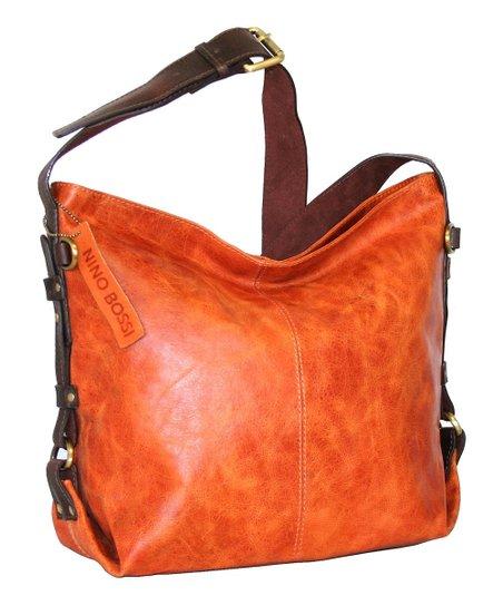Orange California Leather Hobo Bag