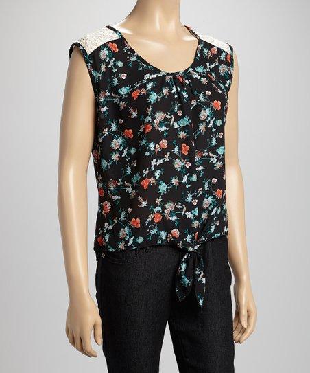 Black & Turquoise Tie-Front Floral Crop Top