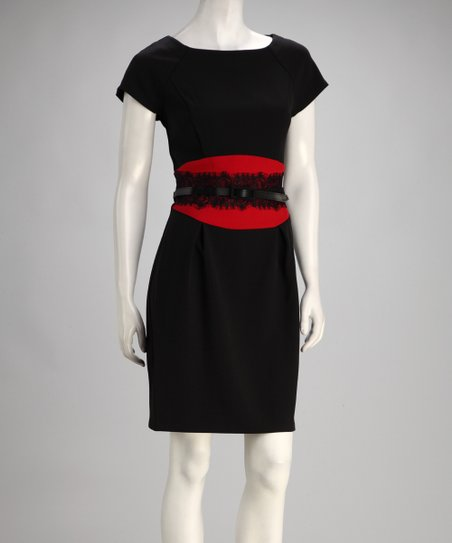Black &amp; Red Color Block Belted Dress