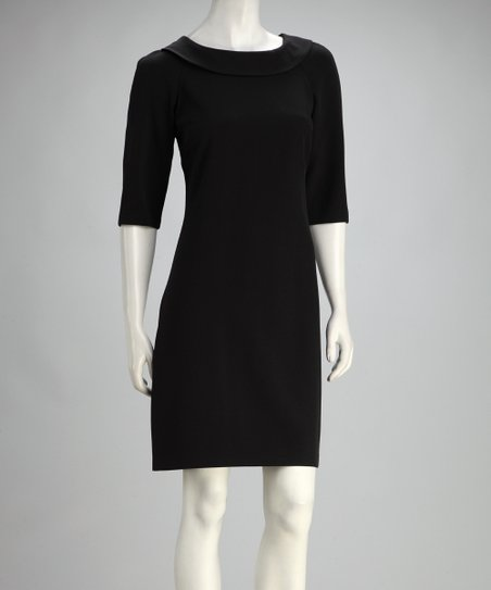 Black Lace Back Three-Quarter Sleeve Dress