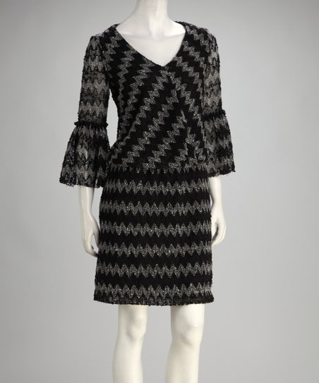 Black &amp; Ivory Zigzag Three-Quarter Sleeve Dress