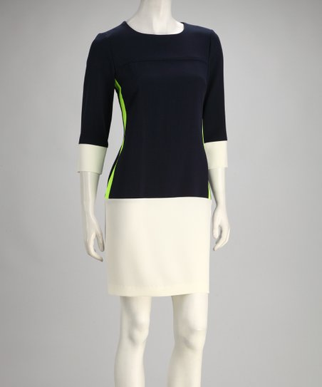 Navy &amp; Ivory Color Block Dress