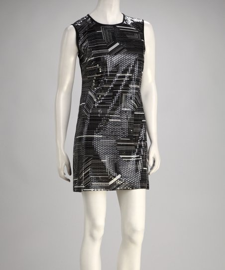 Black & Gray Shimmer Sleeveless Dress