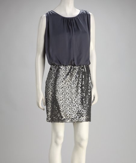 Gray Sequin Sleeveless Dress