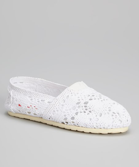 White Shelby Crochet Flat