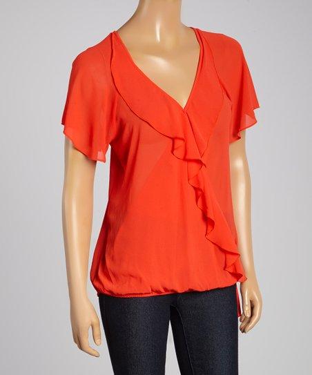 Orange Red Sheer Ruffle-Accent Blouson Top