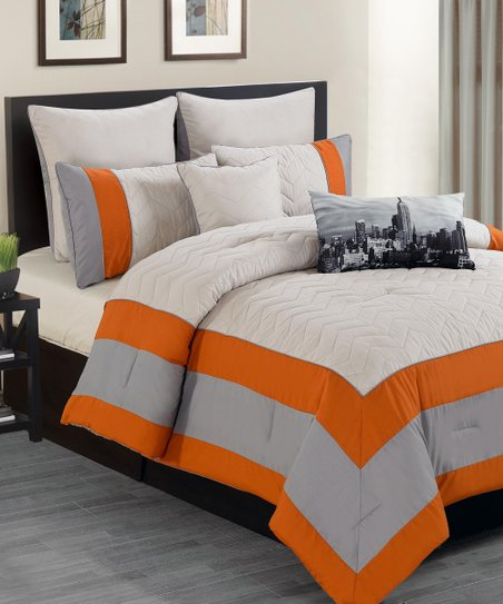 Orange Toledo Overfilled Comforter Set