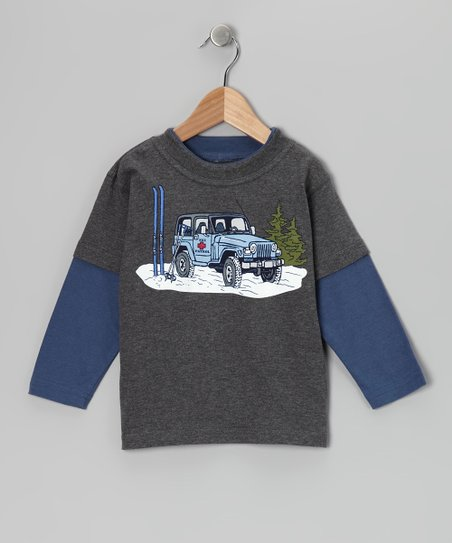 Charcoal Ski Jeep Layered Tee - Toddler