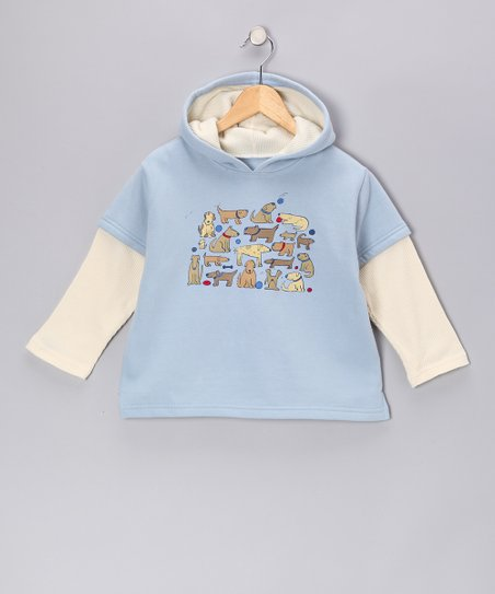 Porcelain Doggie Doodles Layered Thermal Hoodie - Kids