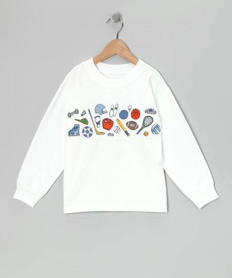 White Sports Doodles Tee - Boys