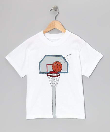 White Basketball Hoop Tee - Boys