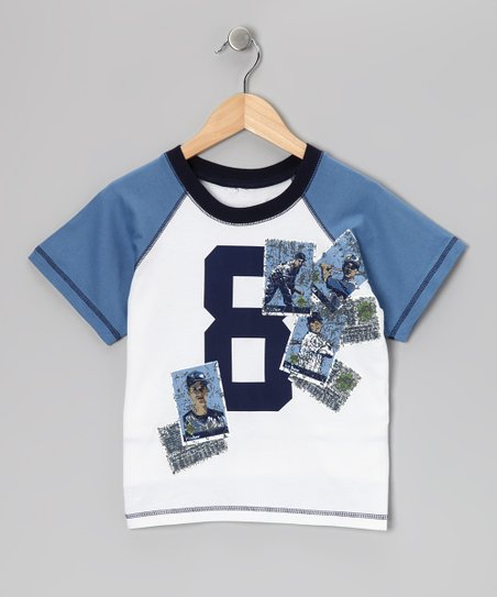 White '8' Baseball Card Raglan Tee - Boys