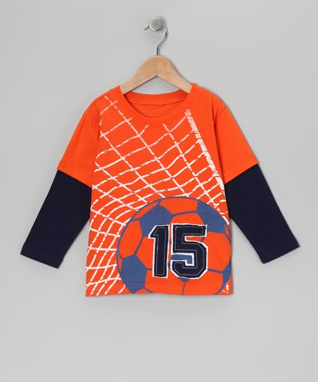 Red '15' Soccer Net Layered Tee - Toddler & Boys