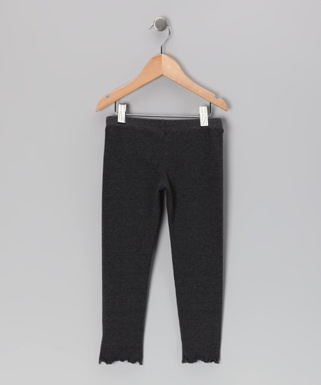 Charcoal Lettuce-Edge Leggings - Infant, Toddler & Girls