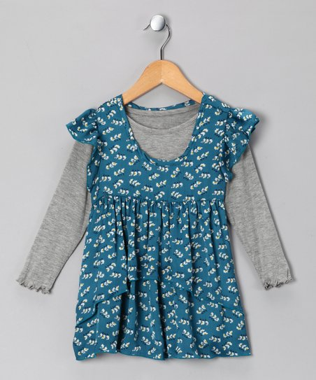 Teal & Gray Floral Layered Tunic - Infant, Toddler & Girls