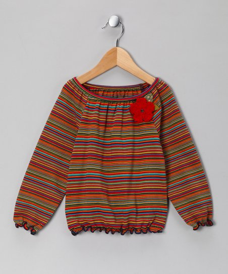 Rainbow Stripe Flower Peasant Top - Toddler & Girls