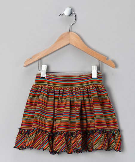 Rainbow Stripe Ruffle Skirt - Toddler & Girls