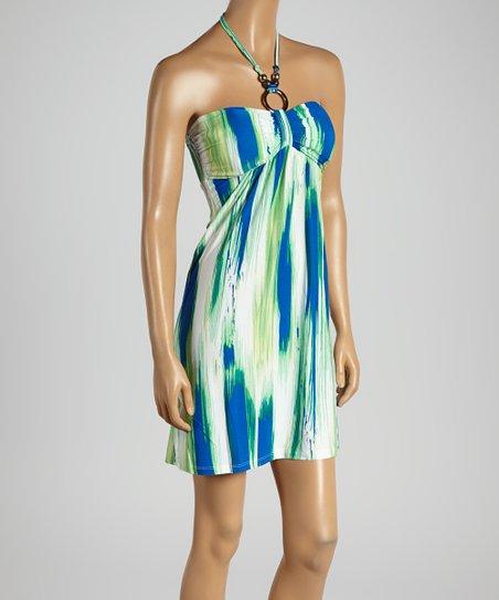 Green Paint Streak Beaded Halter Dress