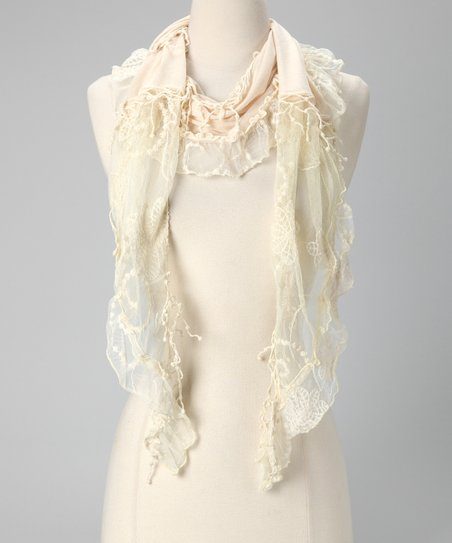 Tickled Pink Ivory Lace Scarf