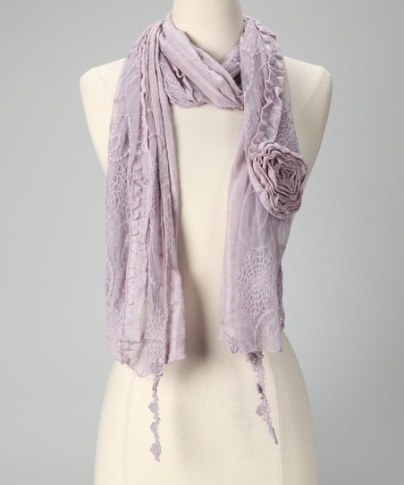 Tickled Pink Lavender Vintage Lace Scarf