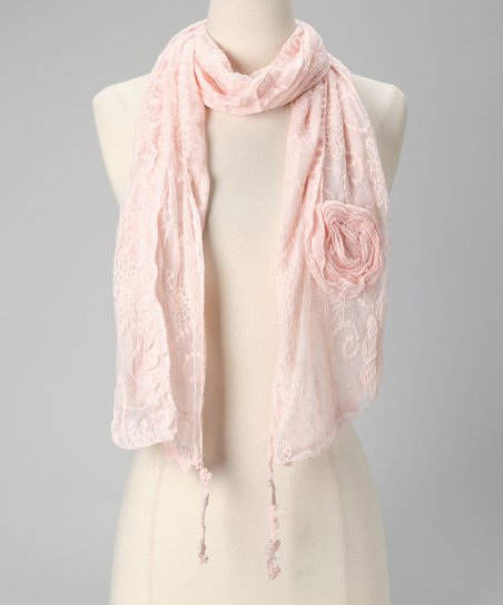 Tickled Pink Light Pink Vintage Lace Scarf