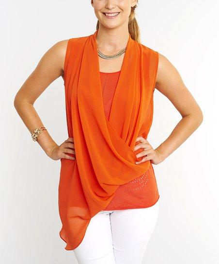Orange Surplice Top