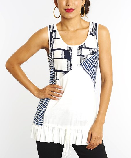 White & Blue Abstract Sleeveless Top