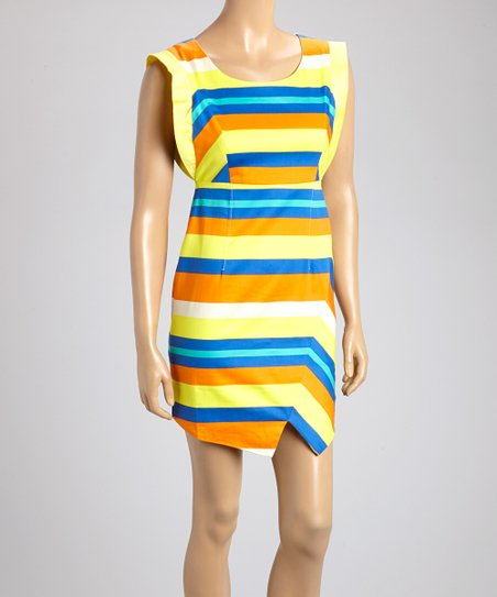Yellow & Orange Stripe Sheath Dress
