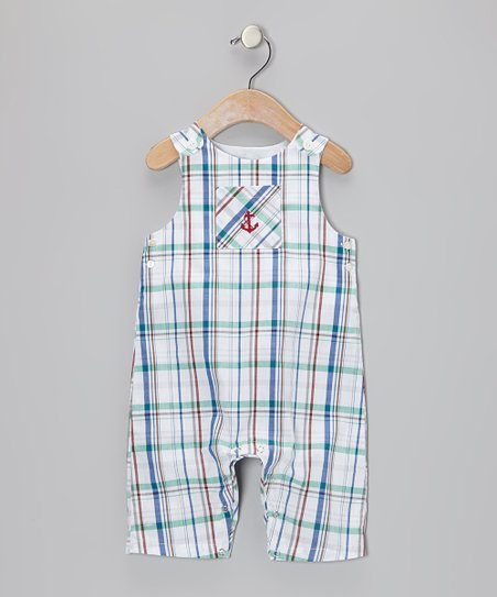 White & Red Plaid Anchor Overalls - Infant