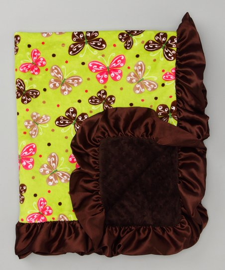 Lime Green & Brown Butterfly Stroller Blanket