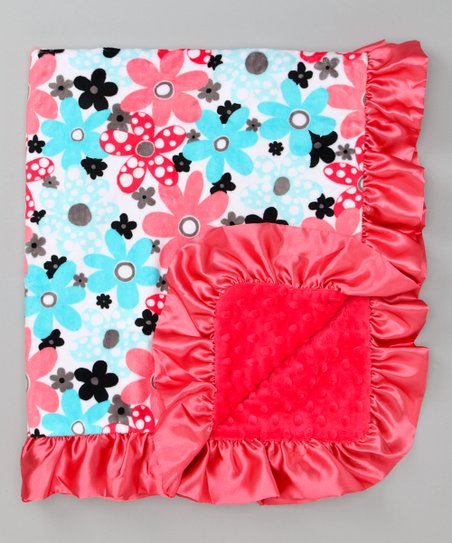 Topaz & Watermelon Flower Stroller Blanket