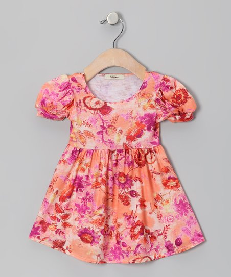 Pink & Orange Jessica Puff-Sleeve Dress - Infant