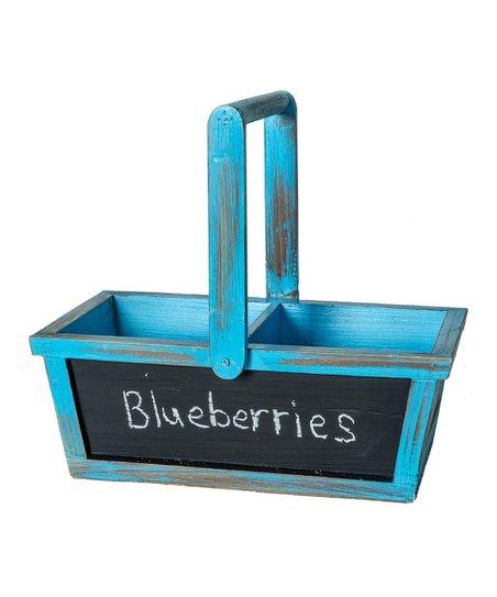 Blue Wood Chalkboard Basket
