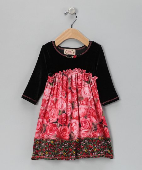 Pink & Black Rose Velour Dress - Toddler