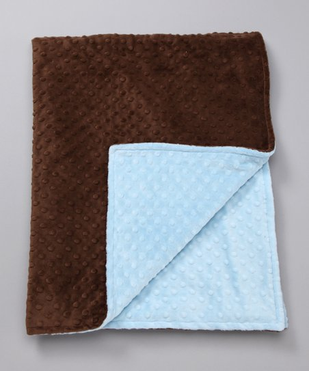 Blue &amp; Brown Minky Toddler Blanket