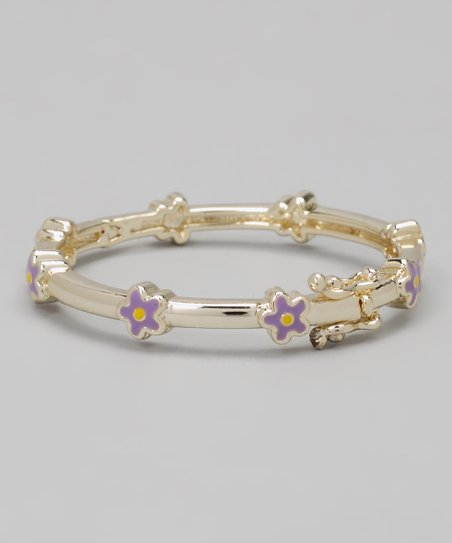 Lavender & Gold Flower Bangle