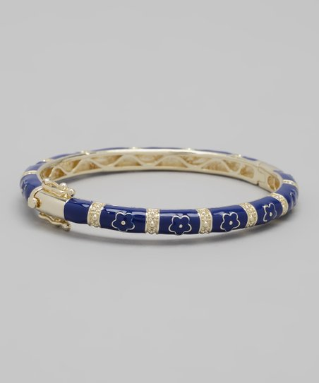 Navy Flower Bangle