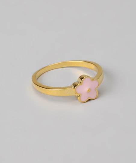 Pink Flower Inset Ring