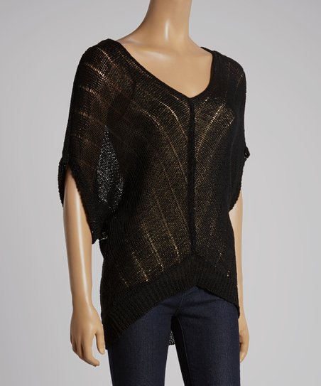 Black Sally Linen-Blend Dolman Top