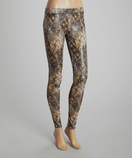Snakeprint Serena Faux Leather Leggings