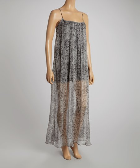 Snake Celia Semi-Sheer Silk Maxi Dress