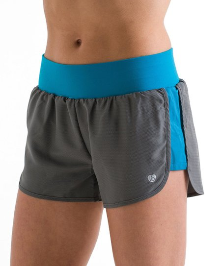 Gray & Teal Woven Shorts