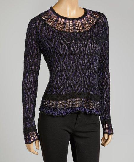 Electric Blue Jacquard Lace Crochet Wool-Blend Scoop Neck Top