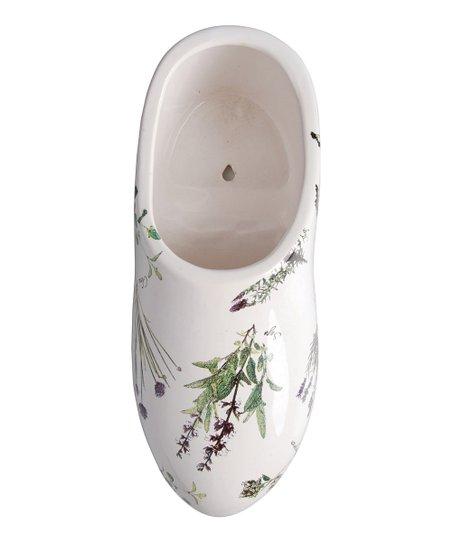 White Herb Print Ceramic Clog Planter