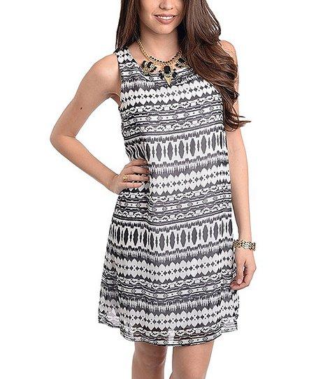 Black & White Geometric Shift Dress