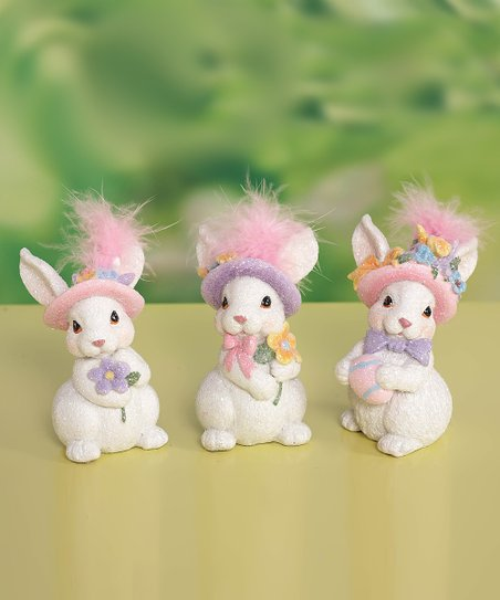 Easter Feather Bunny Figurine Set