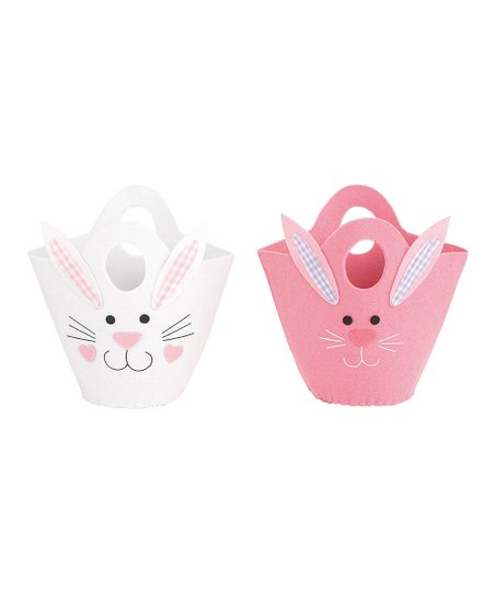 Pink &amp; White Bunny Basket Set