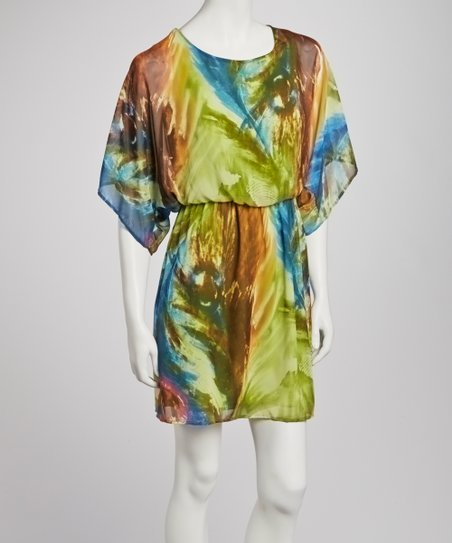 Green & Blue Brushstroke Cape-Sleeve Dress